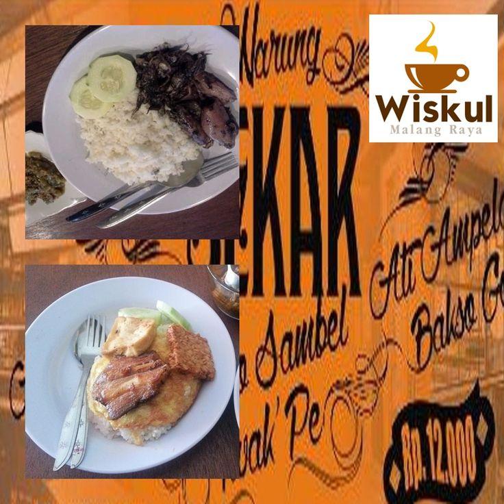 "Wisata Kuliner Malang Raya ""warung sekar"" lokasi trunojoyo 10D Malang (samping stasiun Kota) sepesial sego sambel iwak pe ada juga menu cumi bumbu hitam sambel ijo pedesnya mantap"