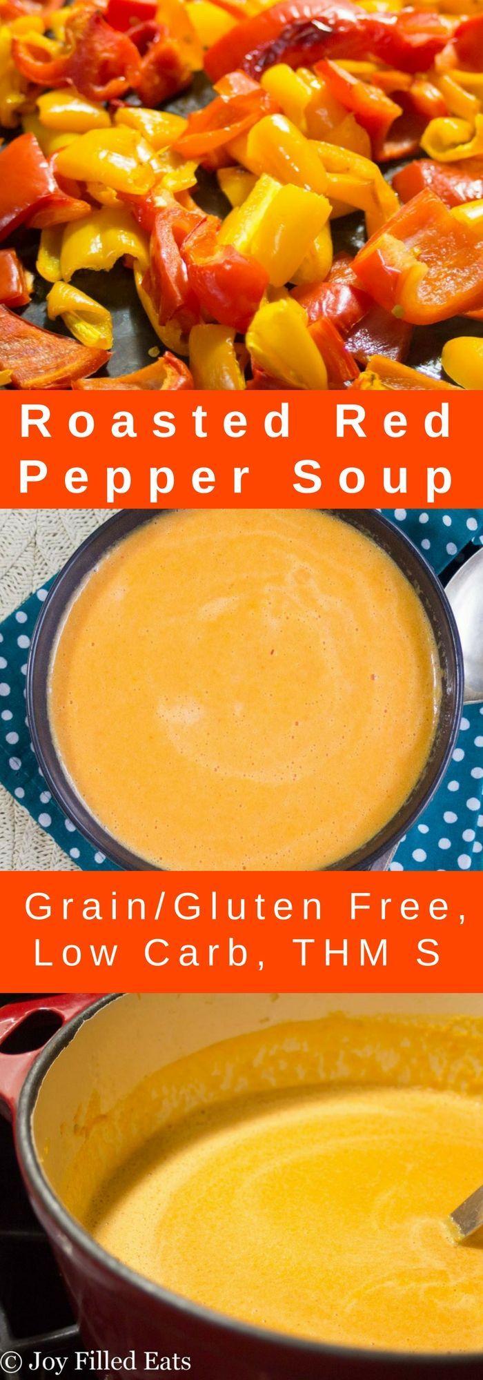 Roasted Red Pepper Soup - Low Carb, Grain/Gluten Free, THM S via @joyfilledeats