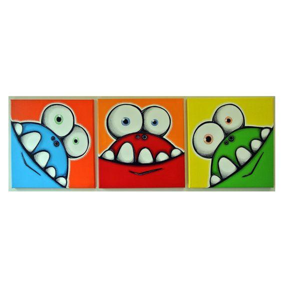 Monstruos tienen dientes tontos - juego de 3 12 x 12 originales pinturas acrílicas para monstruo de niños habitación o vivero, arte del monstruo, arte de pared para niños