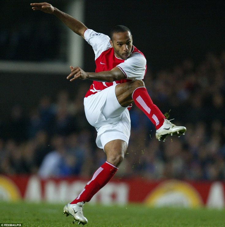 A study of Henry's effortless technique as he shoots for goal during the 2004 Champions League quarter-final with Chelsea