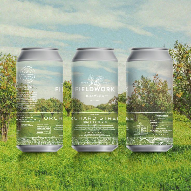Can label design for Fieldwork Brewing Co - Orchard Street IPA - Inspired by our love for the outdoors and vintage National Geographic Photography. Design by Gamut, in San Francisco, CA