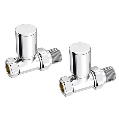 Modern Straight Radiator Valves - Chrome