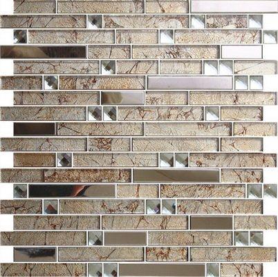 Beveled Mirror Glass Mosaic Tile Strip Wall Tile Foshan