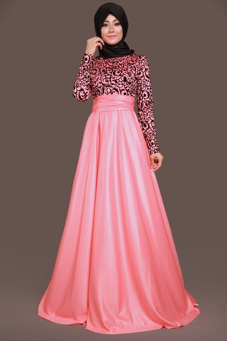 Alanur Flok Baskılı Abiye Elbise Somon Ürün Kodu: ASM1042-S--> 109.90 TL