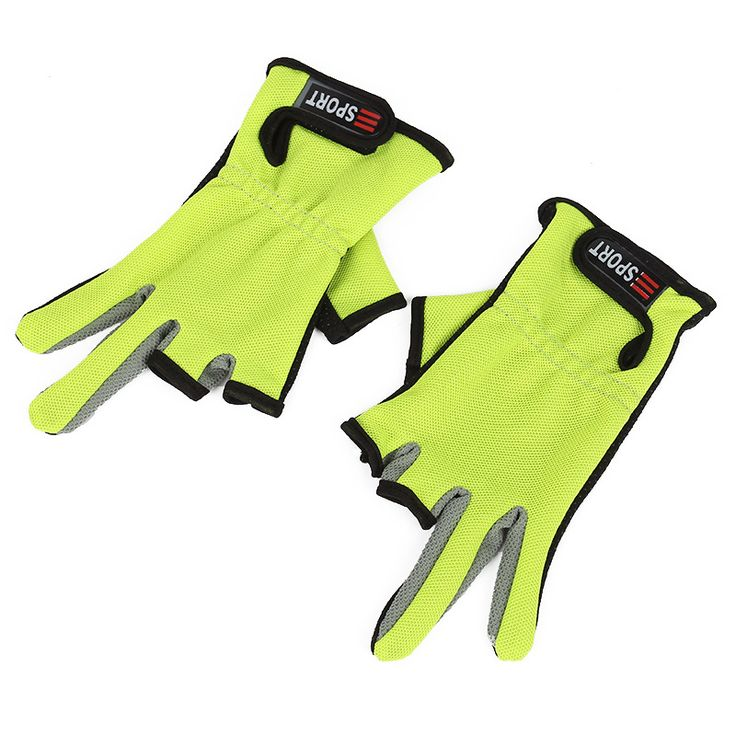 1 Pair Men Sport Fishing Gloves Anti-Slip Outdoor Sport 3 Cut Fingers Fly Pesca Glove