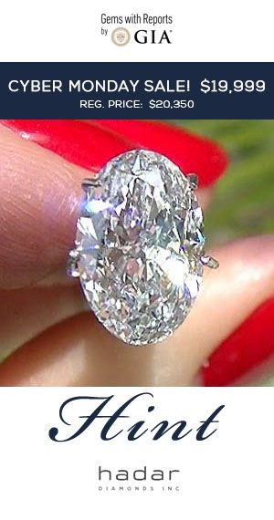 CYBER MONDAY SALE by HadarDiamonds.com.  3.04 carat GIA Certified Oval Brilliant, natural HPHT diamond.  Stunning, with no black inclusions.  Top-tier F color, desirable VS2 clarity.  Regularly priced at $20,350.  Cyber Monday Diamond Sale Price:  $19,999.  Valid now through 11/29/16.  Ideal for an Oval Brilliant Diamond Engagement Ring.  #cybermonday