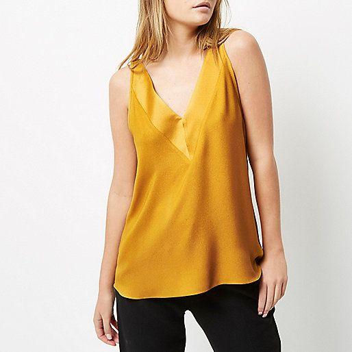 Yellow T-bar cami top - cami / sleeveless tops - tops - women