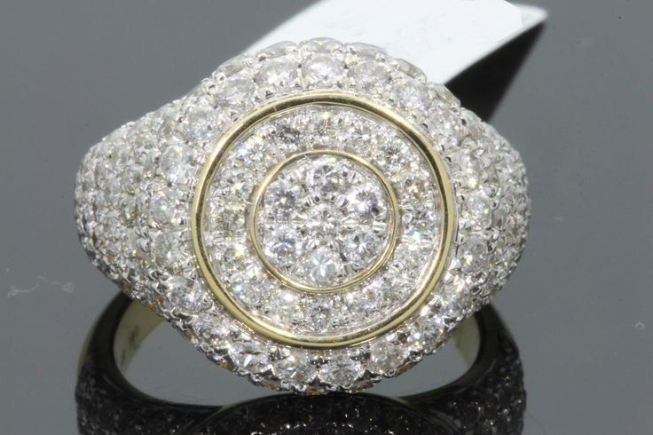 YELLOW GOLD FINISH 6.00 CT MENS ROUND DIAMOND ENGAGEMENT WEDDING PINKY RING BAND #br925silverczjewelry #MensWeddingPinkyRing