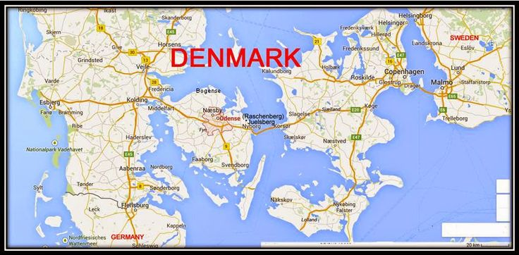 Map of Denmark showing ancestral places: Odense, Raschenberg, Bogense on the island of Fyn.  Copenhagen and Helsingor on the island of Zealand