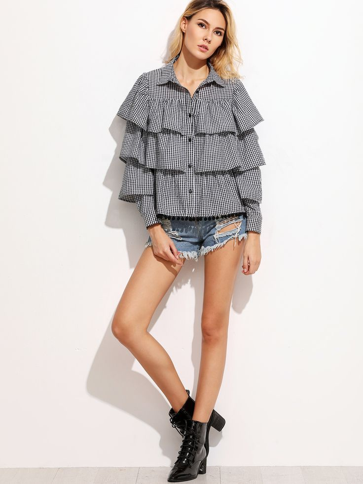 Gingham Layered Blouse