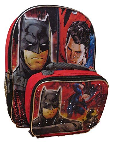 DC Comics Batman vs Superman Backpack with Detachable Insulated Lunch Box, , 14.75