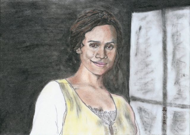 Angel Coulby as Guinevere by Vanessafari - #AngelCoulby in the #BBCMerlin series, by #Vanessafari. More portraits at vanessafari.com