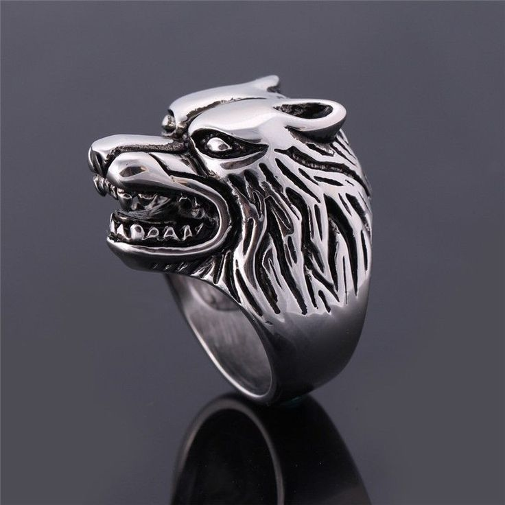 USA Punk Gothic Band Ring Stainless Steel Wolf Head Animals Glamour Finger Ring