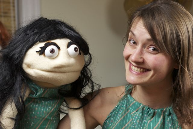 Me and Nula, the puppet I am playing at The family arts festival at Factory 163 in Stratford this coming Sunday from 1pm to 3:30 PM
