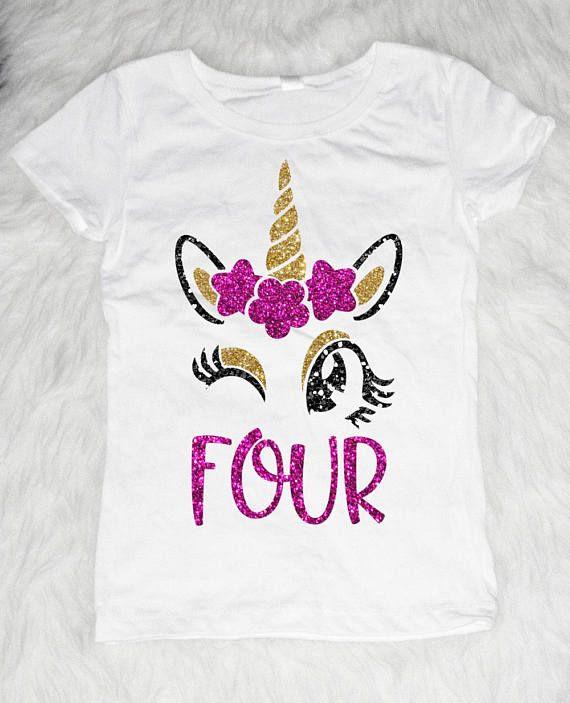 Personalised Name is 4 Girls Birthday Top Fourth Birthday T-shirt Custom Unicorn