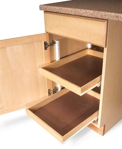 10 Easy Ways to Add Roll-Outs by Brad Holden Roll-out shelving is one of the most popular features  of new kitchen cabinets. Mounted on standard drawer slides, these shelves give you easier access to boxes, jars and kitchenware. You can easily add roll-outs to existing cabinets as well. If you do, take three things into account: First, determine whether you must build out the inside of the cabinet so the …