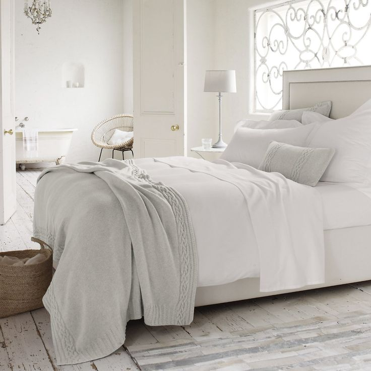 Morgan Throw & Cushion Covers | The White Company: UK company, gray blanket and shams