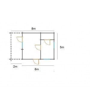 VALENCIA 5x8 spessore pareti 44mm Area struttura + Terrazza 30 + 10 mq Misure 5000 x 8000 mm Camere 3 Altezza casa 3315 mm Altezza parete 2210 mm Porte 4pz ad anta singola Finestre 3pz singolo anta VETRI DOPPI 4-16-4mm, DOPPIA APERTURA Spessore pavimento 20 Spessore tetto 20 ecluso il trasporto e montaggio