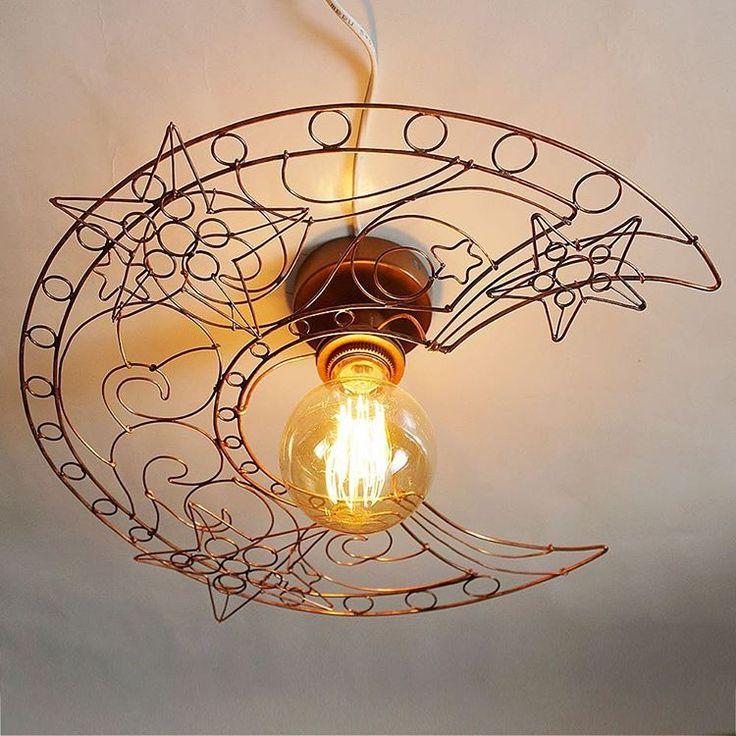 Потолочный светильник из медной проволоки #lamp #light #lampshade #loft #interior #design #wire #copper #абажур #проволока #медь #свет #лампа #освещение #интерьер #дизайн