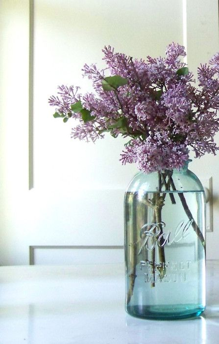 Lilacs in a mason/ball jar...what I've had on my kitchen table since we moved in 10 days ago (not my photo)