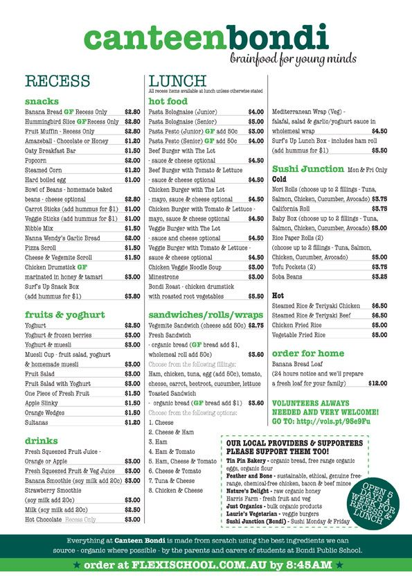 Bondi Public School canteen menu :: wholefoods, fresh, homemade, Nutrikids