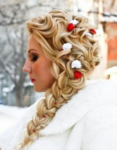 Pretty, Winter Wedding Hair. I would use a different color other than red.