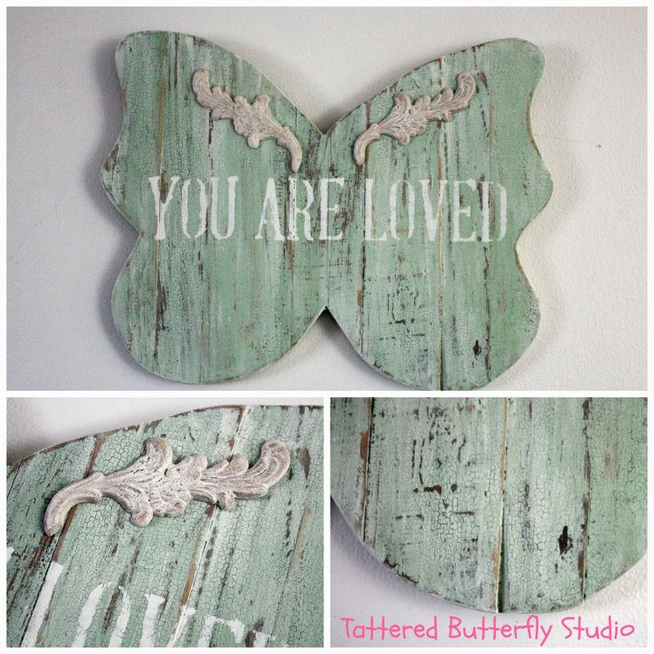 Planked Reclaimed Wood French Butterfly Painted with Sweet Pickins Milk Paint
