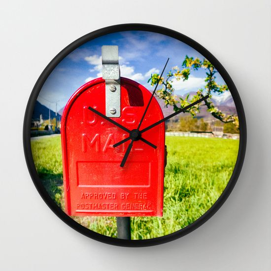 Red mailbox in countryside with bright colors #mailbox #red #wallclock
