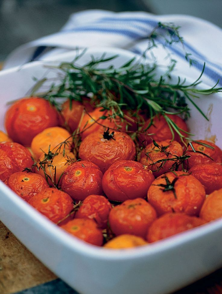 Slow-roasted cherry tomatoes with herbs recipe by Anna Bergenström | Cooked