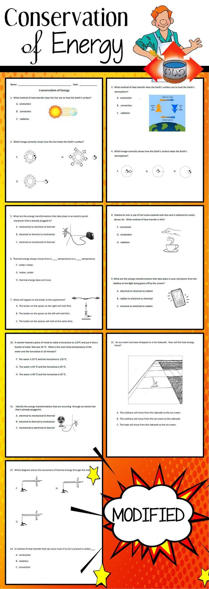 This Is The Modified Version Of My Conservation Of Energy Worksheet Created For An In Elementary School Science Elementary Science Activities Stem Lesson Plans