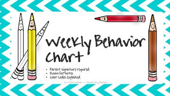 A weekly behavior chart to send home each day.  A weekly behavior chart to boost school-home communication and to keep as part of your records.************************************************Thank you for your interest and/ or purchase! Follow me on Teacher Pay Teachers:  C is for Camacho Follow me on Pinterest:  Teacher Tips Please email me at jessicac_berkeley06@yahoo.com if you have any questions, if you would like to discuss large purchases (i.e.