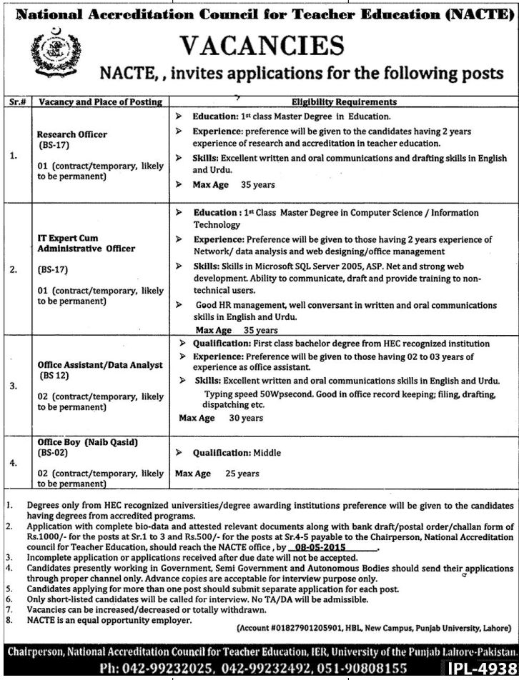 Nacte Government Of Pakistan Islamabad Jobs Research Officer No Of Position 01 Qualification Master Degree /IT Expert Administrative Qualification Nacte Job