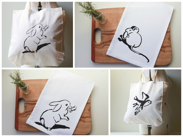 New shop items and a give away...  #Etsy #Bunny #Rabbit #Mouse #Bird #Shopping #Tote #Bag #Tea towel