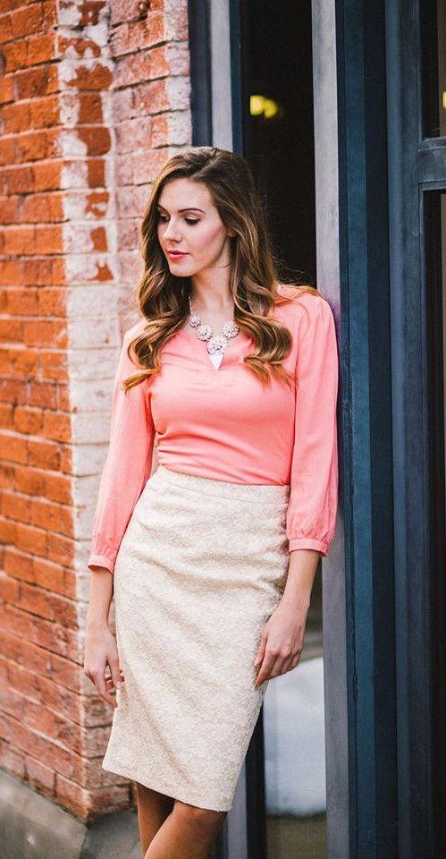 Lace pencil skirt, cream lace skirt, knee length, modest pencil skirt