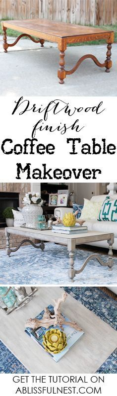 If you love the coastal driftwood look then this is for you! Learn the easiest way to get a weathered wood finish featured on this coffee table makeover.