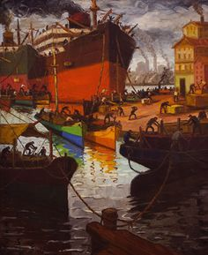 Benito Quinquela Martín (1890-1977) Día de sol en La Boca, óleo sobre tela.