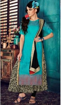 Ladies Readymade Ethinic Formal Churidar Suits in Cotton and Aqua Blue with Dupatta | FH444270027