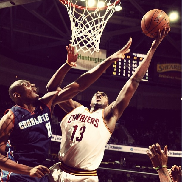 Photo of the Game: Tristan Thompson goes up for 2 of his 17 points to help the Cavs top the Bobcats 122-95. More Photos here: http://www.nba.com/cavaliers/photogallery/chacle-130206