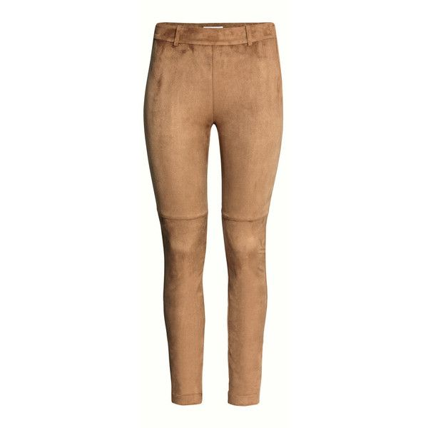 H&M Trousers in imitation suede ($38) ❤ liked on Polyvore featuring pants, trousers, faux suede pants, h&m, h&m trousers, beige pants and slim fit pants