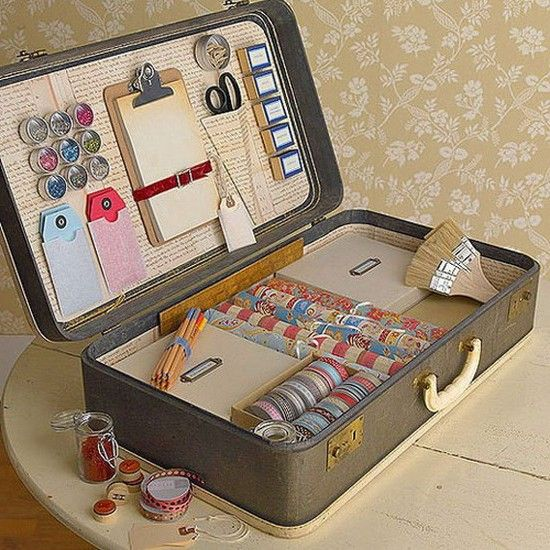 Переносной кофр для рукоделия из старого чемодана своими руками