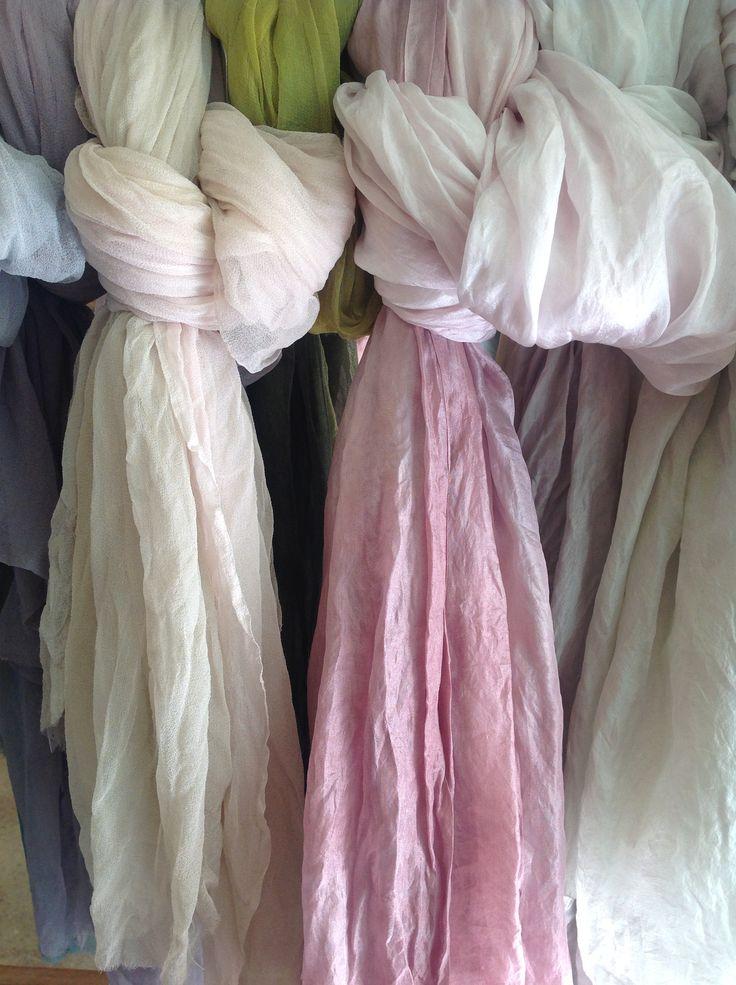 Foulards gasa de seda teñidos a mano