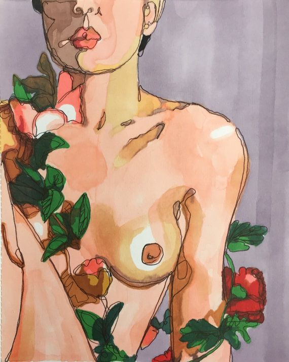 Fine art print marker drawing of nude woman with roses by ArtbyVBM