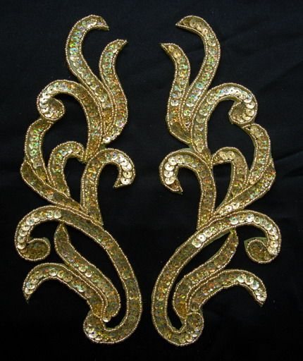 LR118 Mirror Pair Sequin Bead Applique Motif Hologram Gold