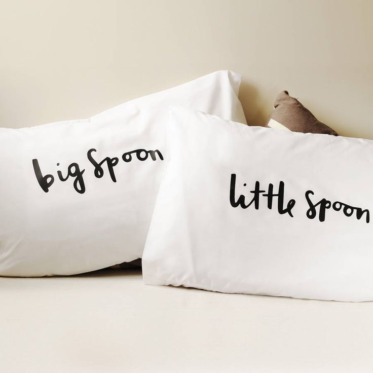 These simple and bold big spoon and little spoon pillow cases make a great wedding gift.This charming set of pillow cases have been lovingly illustrated and printed from our London based studio. The pillow case designs have been illustrated with the hand written typographic messages 'big spoon' and 'little spoon'. The unique pillow cases would look fantastic in any home. Simple and bold in design, they are sure to stand out in the bedroom.