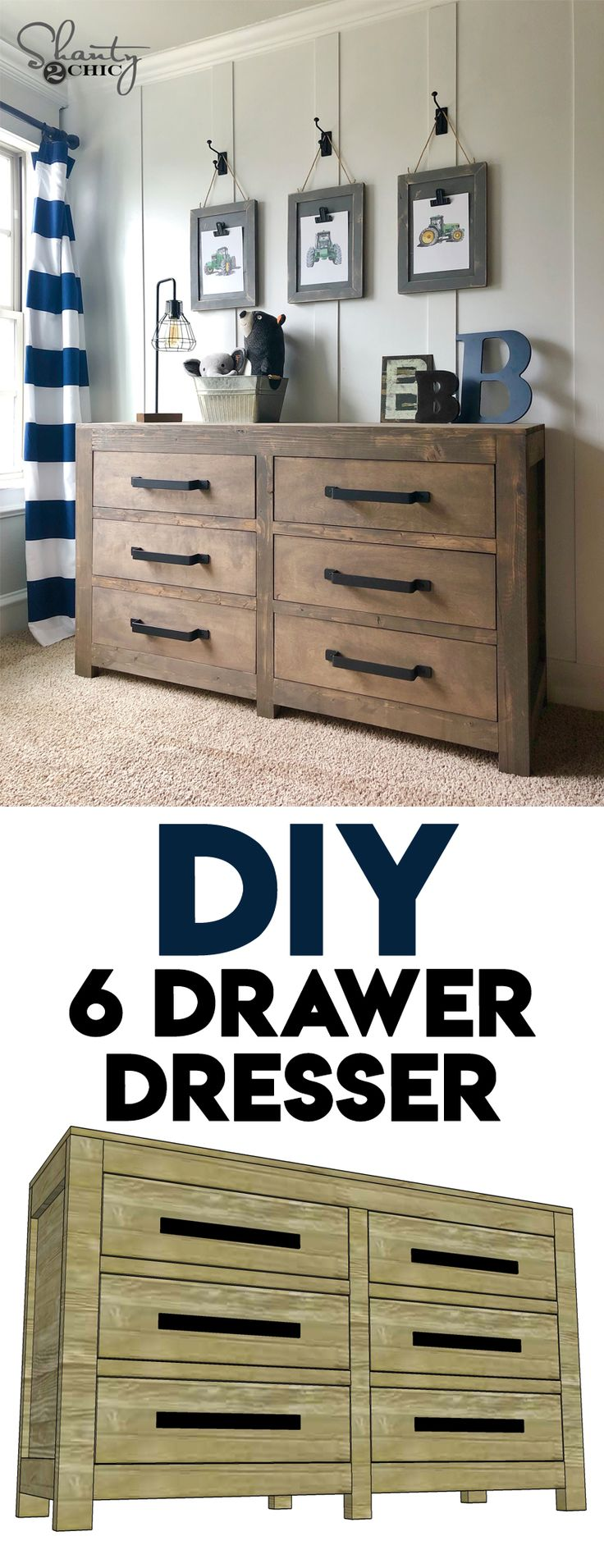 DIY Modern Farmhouse 6 Drawer Dresser – Cris A
