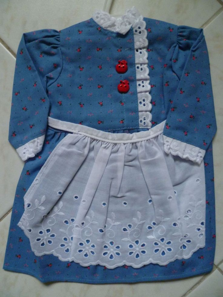 Dirndlkleid, Dirndl für Puppe 50 cm groß, Tracht für Puppen,blau m.weißer Schürz
