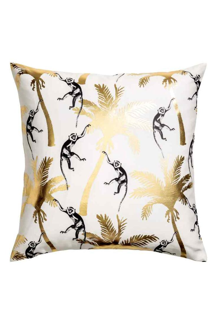 Patterned cushion cover - White/Palms - Home All | H&M GB 1
