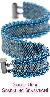 Denim Peyote Ruffle Bracelet Kit by FusionBeads.com® | Fusion Beads