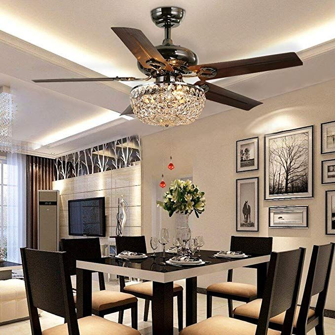 Luxurefan Retro Crystal Ceiling Fan Light With Elegant Crystal Cover And 5 Premium Metal Le Dining Room Ceiling Fan Living Room Ceiling Fan Dining Room Ceiling