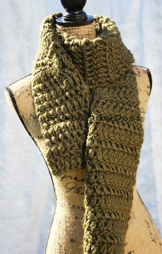 Green Scarf Women's Scarf Extra Large Crochet by SweetBabyDesi
